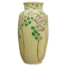 """Roseville Pottery Velmoss Scroll Scottish Rose Vase #199-8"""", Circa 1920"""