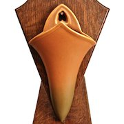 "Roseville Pottery Rosecraft Wall Pocket #1236-9"", Burnt Orange, Ca. 1925"