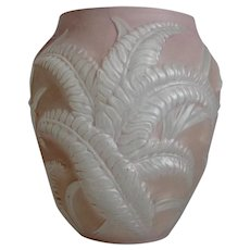 Phoenix Glass Sculptured Artware Fern Vase, Pink, Ca. 1938