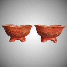 Cowan Pottery Comports, Set of 2, Oriental Red, Ca. 1930