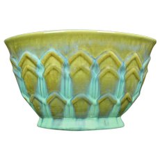 Fulper Pottery Pillow Vase, Blue over Green, Circa 1930