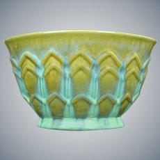 Fulper Pottery Pillow Vase, Blue over Green, Circa 1930