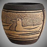 Weller Pottery Claywood Squat Vessel w/Ducks, Ca. 1910