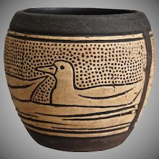 Weller Pottery Claywood Squat Vessel w/Ducks, Ca. 1910