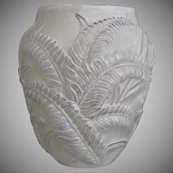 Phoenix Glass Sculptured Artware Fern Vase, White, Ca. 1938