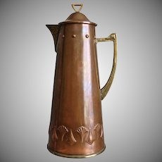 WMF Art Nouveau Copper Wine Jug, Circa 1900