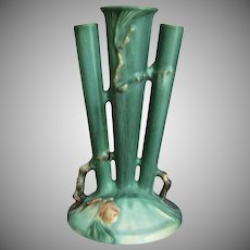 "Roseville Pottery PineCone Triple Bud Vase #113-8"", Green, Ca. 1935"