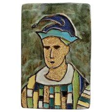 "Harris Strong ""Jester"" Ceramic Tile Plaque, Circa 1950"