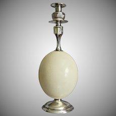 """Silver & Ostrich Egg 13"""" Candlestick"""