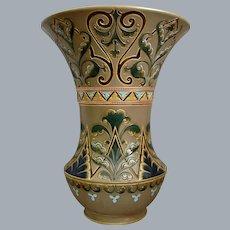 Large Sarreguemines French Faience Vase, Circa 1890