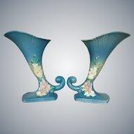 """Roseville Pottery Cosmos Cornucopia #137-8"""" Pair, Blue"""