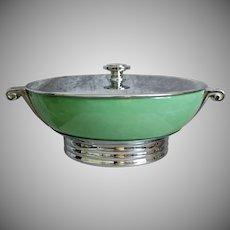 Manning-Bowman Metal & Stoneware Serving Dish, Circa 1935