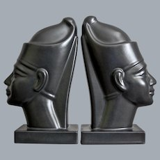 Hyalyn Porcelain Pharoah Bookends, Satin Black, Ca. 1960