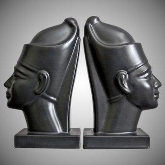 Hyalyn Porcelain Pharoah Bookends, Satin Black, Ca. 1960
