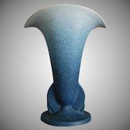 """Roseville Pottery Rozane Pattern Vase #6-9"""", Blue, Ca. 1941"""