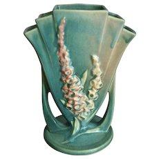 "Roseville Pottery Foxglove Vase #47-8"", Green, Ca. 1942"
