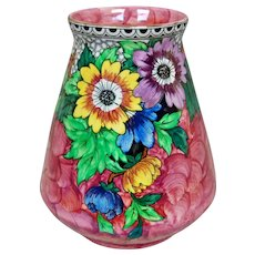 Maling Pottery Lustre Ware Vase w/Daisies, Pink, Circa 1945
