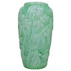 Consolidated Martele' Bittersweet Vase, Green Cased Opalescent, c. 1930