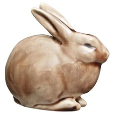 Rookwood Pottery Rabbit Paperweight #6160, Wine Madder Glaze,1957