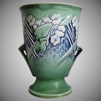 """Roseville Pottery Clemana Vase #753-8"""", Green, Ca. 1936"""