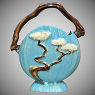 "Roseville Pottery Ming Tree Basket #508-8"", Blue Ca. 1949"