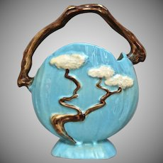 "Roseville Pottery Ming Tree Basket #508-8"", Blue Ca. 1949"