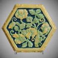 Cowan Pottery Hexagonal Tea Tile, Polychrome, C. 1930