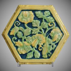 Cowan Pottery Hexagonal Tea Tile, Polychrome, C. 1930