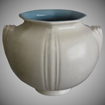 "Roseville Pottery Russco Vase #259-6"", Ivory/Blue, Circa 1935"