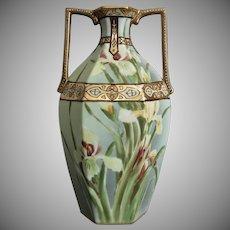 "Nippon Matte Painted 10"" Vase w/Irises, Ca. 1916"