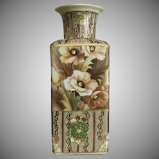 "Nippon Enameled 9"" Vase w/Poppies, Ca. 1916"