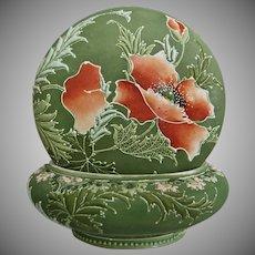 Nippon Moriage Powder Box w/Poppies, Ca. 1900