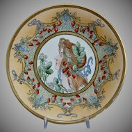 T & V Limoges Arts & Crafts Hand-painted Plate, Dated 1912