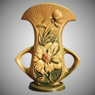 "Roseville Pottery Peony Vase #62-8"", Yellow, Ca. 1942"