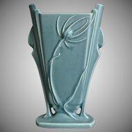 "Roseville Pottery Teasel Pillow Vase #885-8"", Green, Circa 1938"