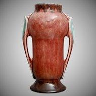 """Roseville Pottery Orian Vase #733-6"""", Red, 1935"""