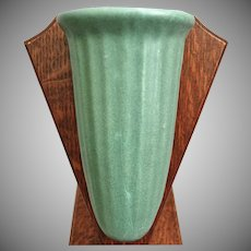 Zanesville Stoneware Co. Wall Pocket #49, Matte Green, Ca. 1920