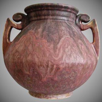 """Roseville Pottery Carnelian II Vase #318-8"""", w/Label"""