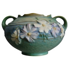 """Roseville Pottery Cosmos Rose Bowl #375-4"""", Green, Ca. 1939"""