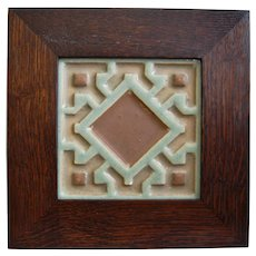 Rookwood Faience Tile w/Oak Frame, Circa 1900