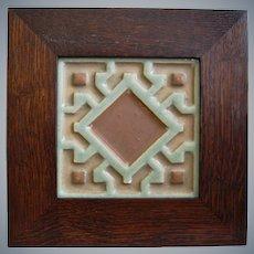 Rookwood Faience Tile w/Oak Frame, Circa 1900