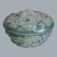 Phoenix Glass Sculptured Artware Phlox Candy Dish, Aqua Blue Wash, Ca. 1940