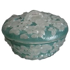 Phoenix Glass Sculptured Artware Phlox Candy Dish, Aqua Blue Wash, Ca. 1940