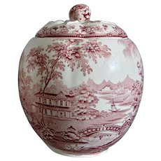 "Royal Staffordshire ""Tonquin"" Biscuit Jar, Red, Circa 1950"