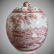 """Royal Staffordshire """"Tonquin"""" Biscuit Jar, Red, Circa 1950"""