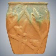 Muncie Pottery Katydid Vase #194, Green over Pumpkin, Circa 1930