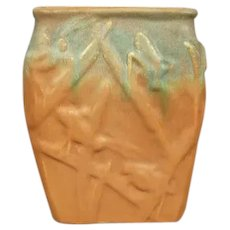 Muncie Pottery Katydid Vase #194, Green over Pumpkin, Circa 1930