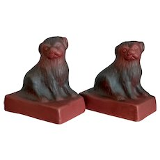 Van Briggle Pottery Dog Bookends, Mulberry, Circa 1929