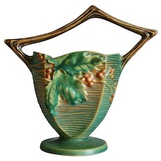 "Roseville Pottery Bushberry Basket #370-8"", Green, Circa 1941"
