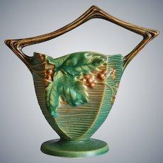 "Roseville Pottery Bushberry Basket #370-8"", Green, Circa 1941"